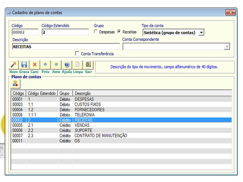 NeXT ERP - Cadastro de plano de Contas