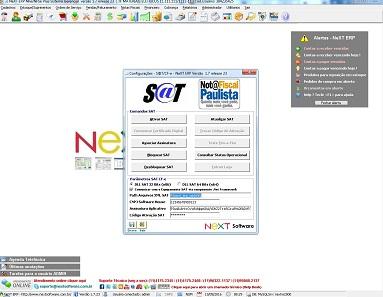 NeXT ERP SAT Fiscal Configurações CF-e