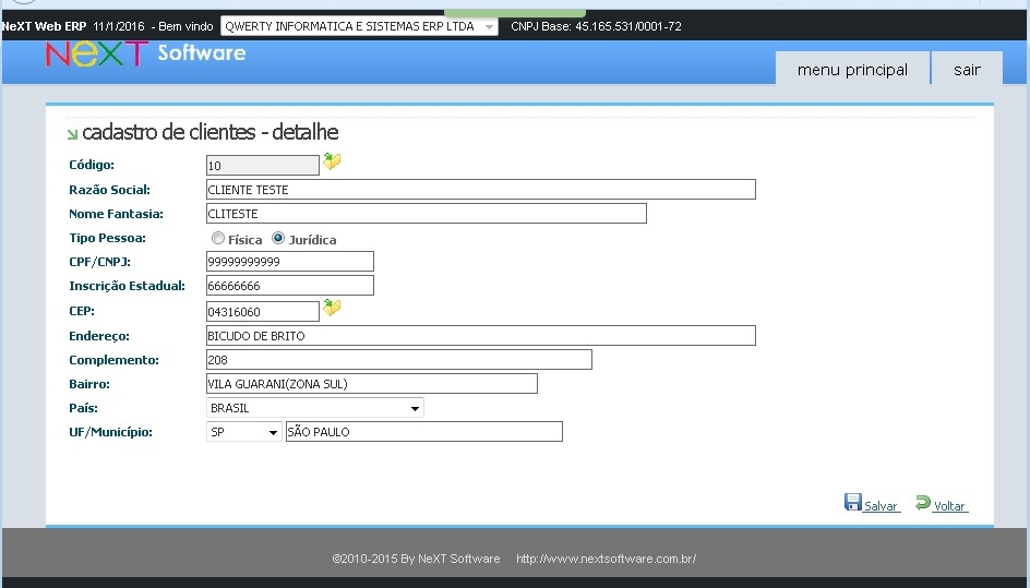 NeXT WEB ERP - Cadastro de Clientes