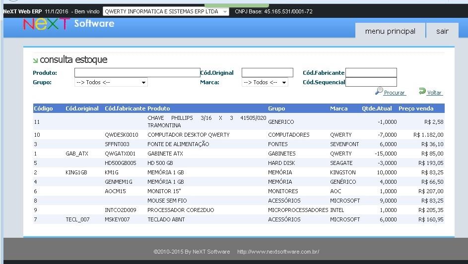 NeXT WEB ERP - Consulta de Estoque