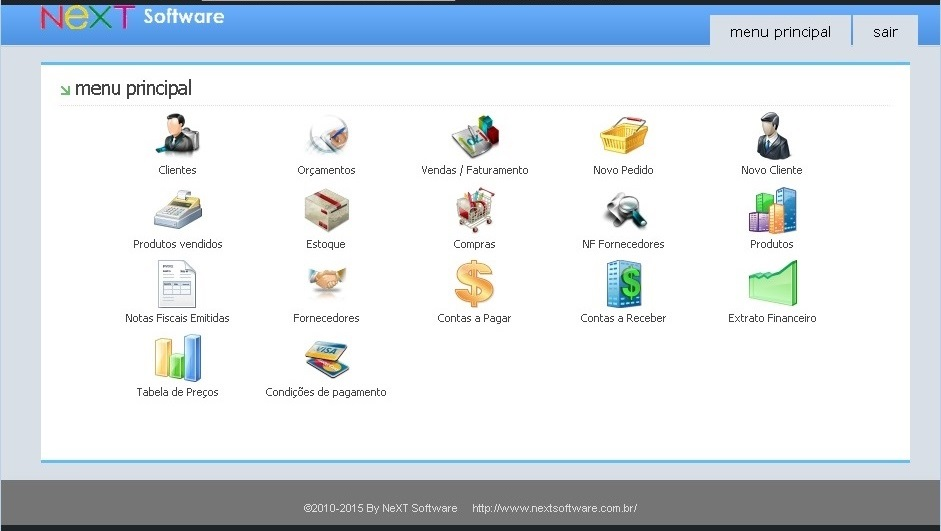 NeXT WEB ERP - Menu inicial