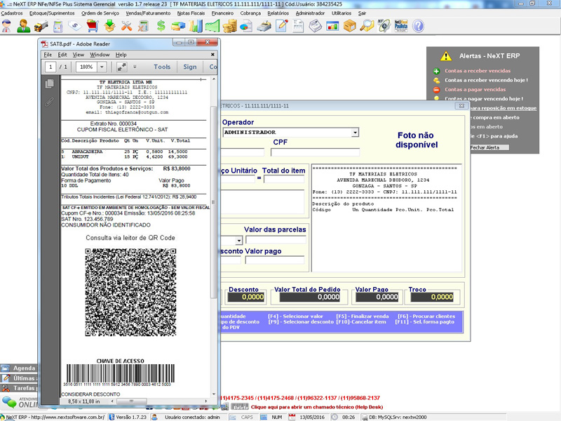 NeXT ERP - Emissão de NFC-e via PDV