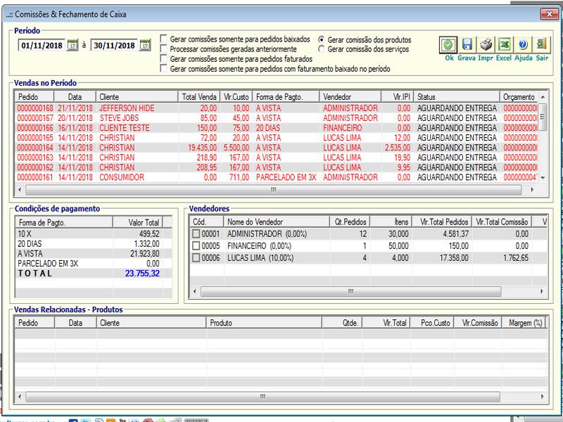 NeXT ERP - Comissões e Fechamento de Caixa