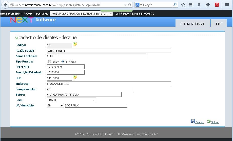 NeXT Web ERP Cadastro de Clientes online