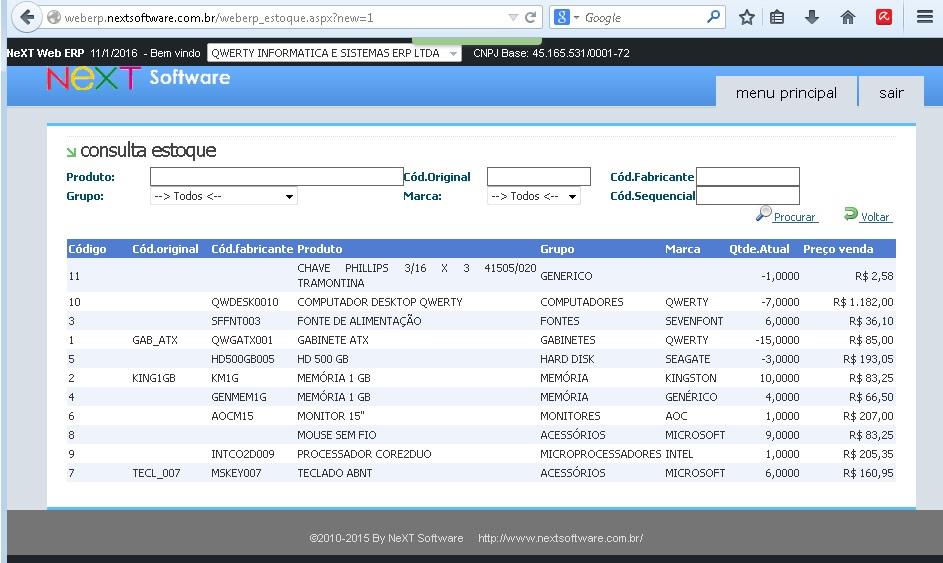 NeXT Web ERP Consulta Estoque