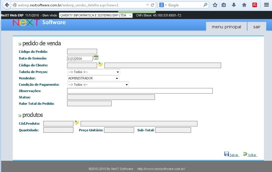 NeXT Web ERP Pedido de Venda online