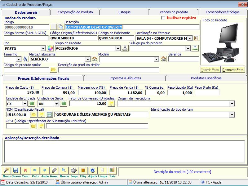 NeXT ERP - Cadastro de Produtos