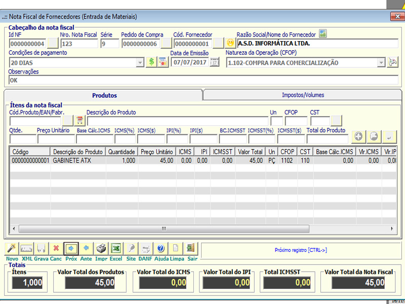 NeXT ERP - Entrada de Nota Fiscal de fornecedor