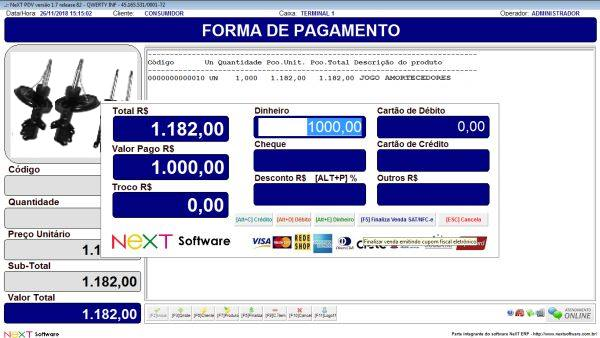 Sistema NeXT ERP para Auto Peças - PDV com emissão de cupom fiscal