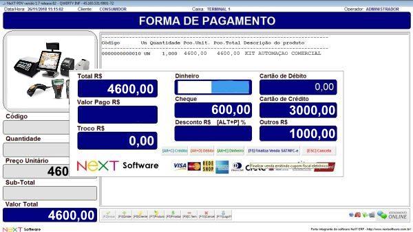 Sistema NeXT ERP para Automação Comercial - PDV com emissão de cupom fiscal