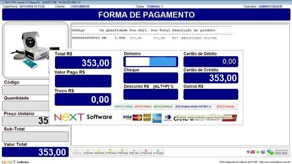 Sistema NeXT ERP para Certificadora Digital - PDV com emissão de cupom fiscal
