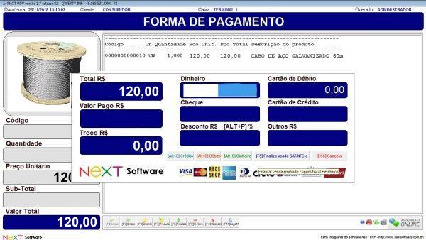 Sistema NeXT ERP para Comércio De Ferragens - PDV com emissão de cupom fiscal