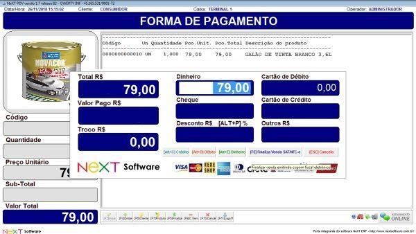 Sistema NeXT ERP para Comércio De Tintas - PDV com emissão de cupom fiscal
