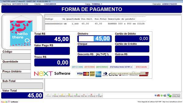 Sistema NeXT ERP para Comunicação Visual - PDV com emissão de cupom fiscal