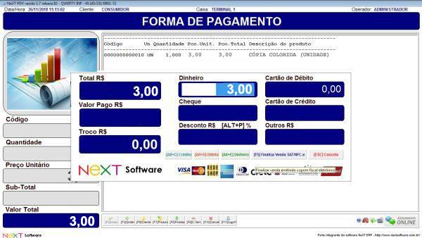 Sistema NeXT ERP para Copiadora E Gráfica Expressa - PDV com emissão de cupom fiscal