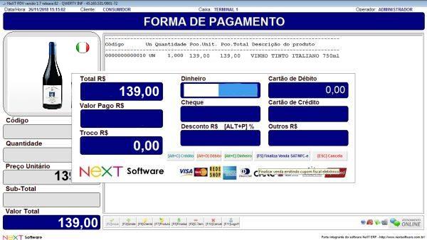 Sistema NeXT ERP para Distribuidoras De Bebidas - PDV com emissão de cupom fiscal