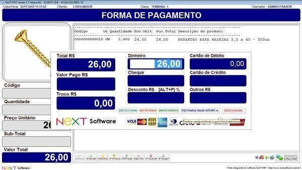 Sistema NeXT ERP para Distribuidoras De Parafusos - PDV com emissão de cupom fiscal