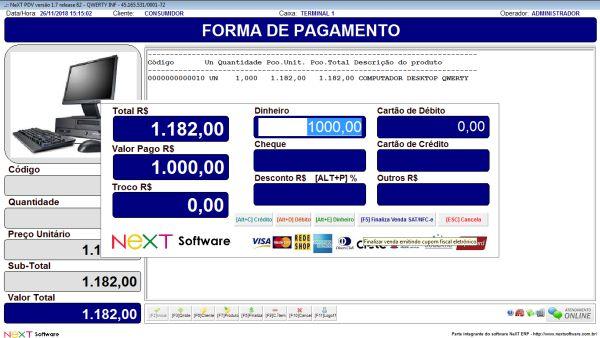 Sistema NeXT ERP para Distribuidoras - PDV com emissão de cupom fiscal
