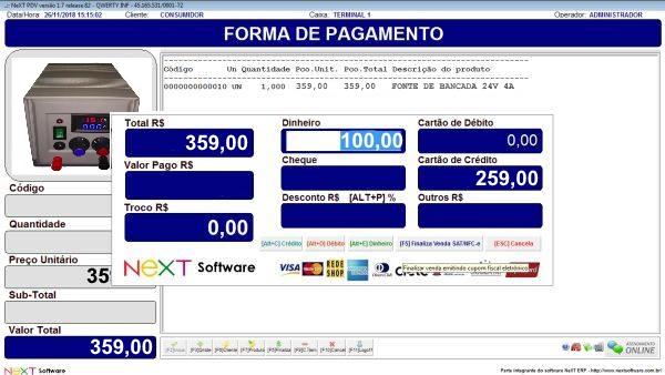 Sistema NeXT ERP para Equipamentos Eletrônicos - PDV com emissão de cupom fiscal