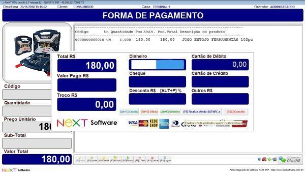 Sistema NeXT ERP para Ferramentaria - PDV com emissão de cupom fiscal