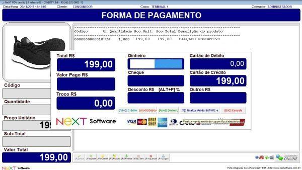 Sistema NeXT ERP para Loja De Artigos Esportivos - PDV com emissão de cupom fiscal