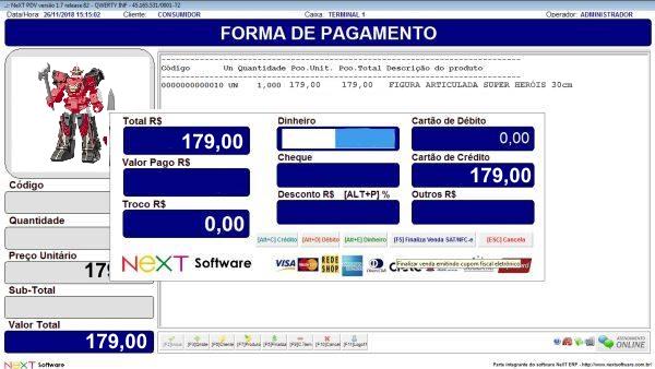 Sistema NeXT ERP para Loja De Brinquedos - PDV com emissão de cupom fiscal