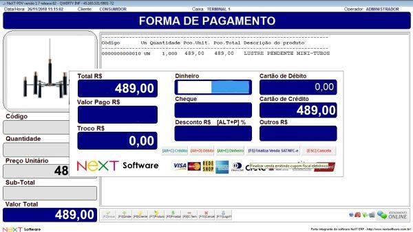 Sistema NeXT ERP para Loja De Lustres E Acessórios - PDV com emissão de cupom fiscal