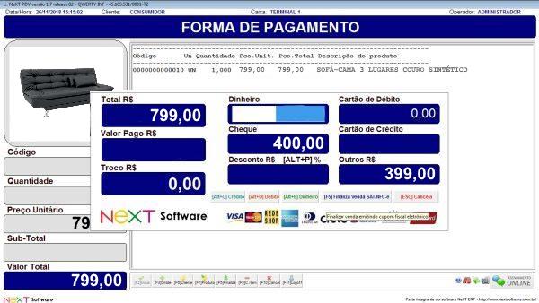 Sistema NeXT ERP para Loja De Moveis - PDV com emissão de cupom fiscal