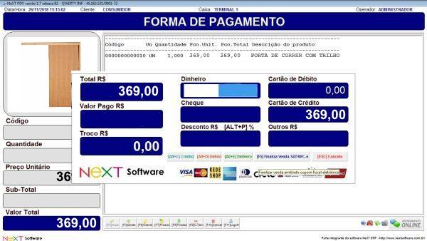 Sistema NeXT ERP para Madeireira - PDV com emissão de cupom fiscal
