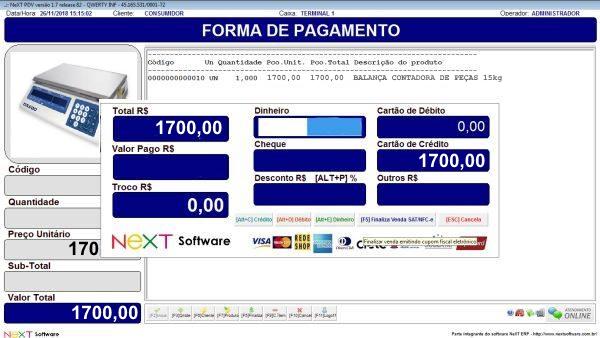 Sistema NeXT ERP para Manutenção E Comercio De Balanças - PDV com emissão de cupom fiscal