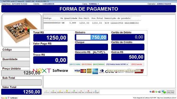 Sistema NeXT ERP para Marcenaria - PDV com emissão de cupom fiscal