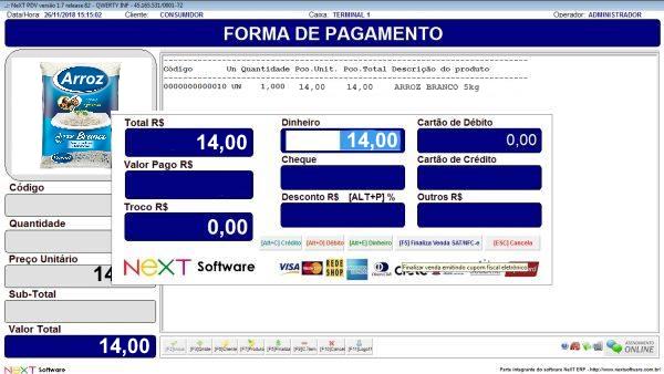 Sistema NeXT ERP para Minimercado - PDV com emissão de cupom fiscal