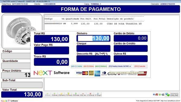NeXT ERP Distribuidoras de Moto Peças - PDV com emissão de cupom fiscal