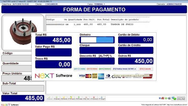 Sistema NeXT ERP para Pecas De Tratores - PDV com emissão de cupom fiscal