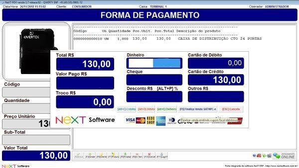 NeXT ERP Provedores de Internet - PDV com emissão de cupom fiscal