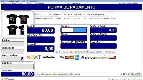 Sistema NeXT ERP para Vestuário - PDV com emissão de cupom fiscal