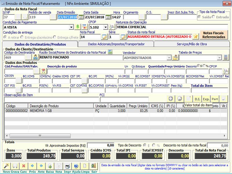 NeXT ERP - Emissão de NF-e