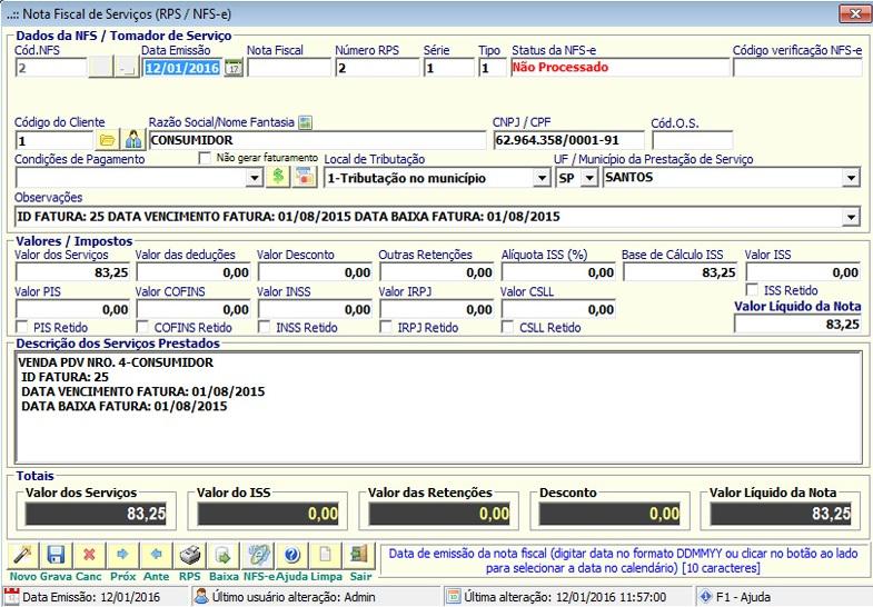 NeXT ERP - Nota Fiscal de Serviço - NFS-e